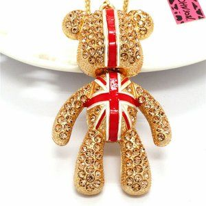 Jewelry - Articulated Britain England Flag Bear Necklace